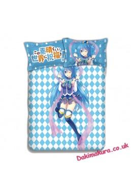 Aqua-KonoSuba Japanese Anime Bed Blanket Duvet Cover with Pillow Covers